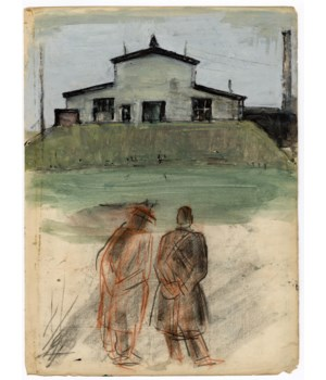 Gouache American Folk Art Sketch on Paper Circa 1964