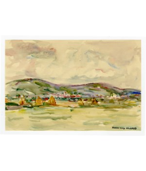 Watercolor Landscape by French Artist Eugene Billaud Circa 1940