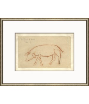 At the Zoo Sketch Series - Sepia Pig