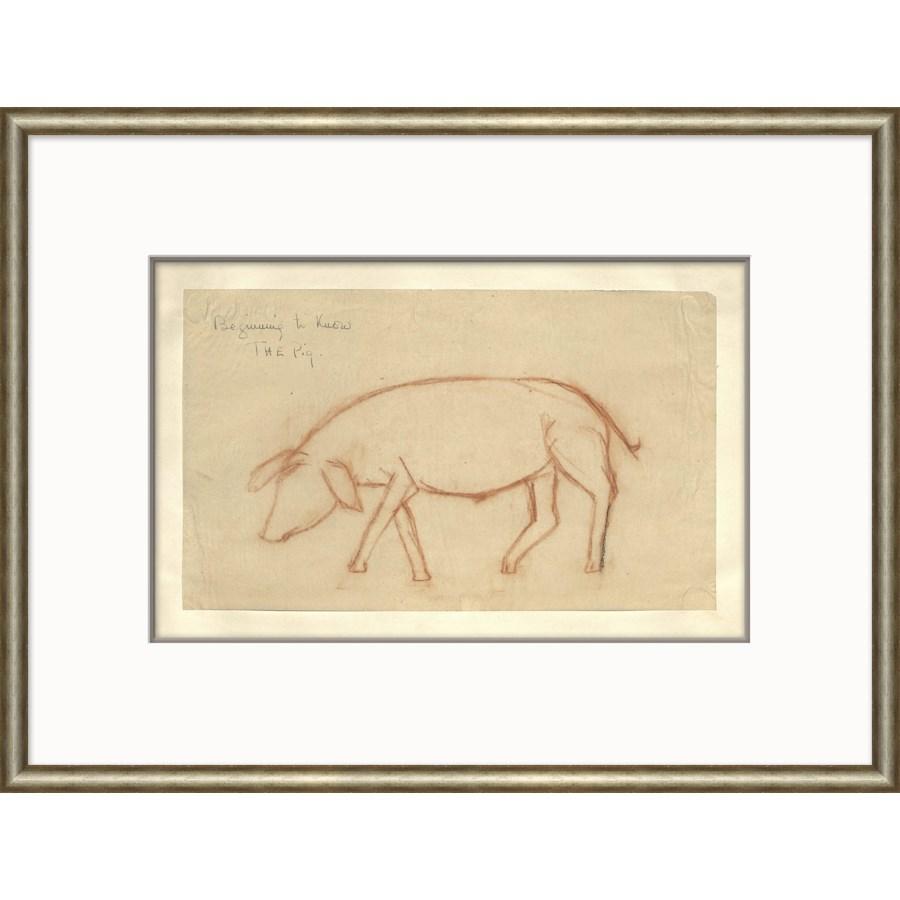 At the Zoo Sketch Series - Sepia Pig