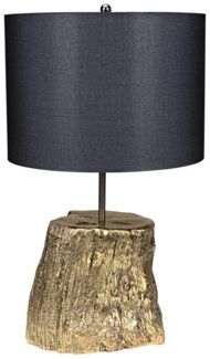 Block Table Lamp with Shade, Brass