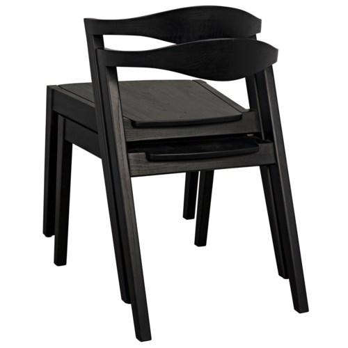 Mara Stacking Chair, Charcoal Black