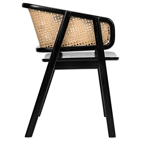 Delphi Chair w/Caning, Charcoal Black