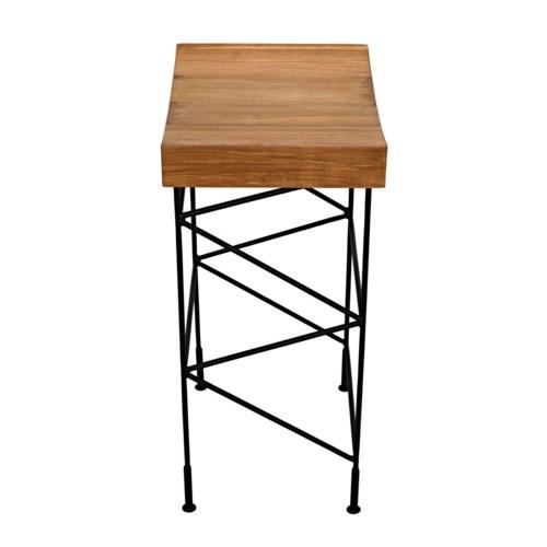 Bridge Bar Stool Teak Seat w/Metal