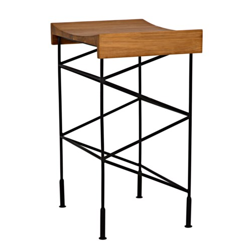 Bridge Counter Stool Teak Seat w/Metal