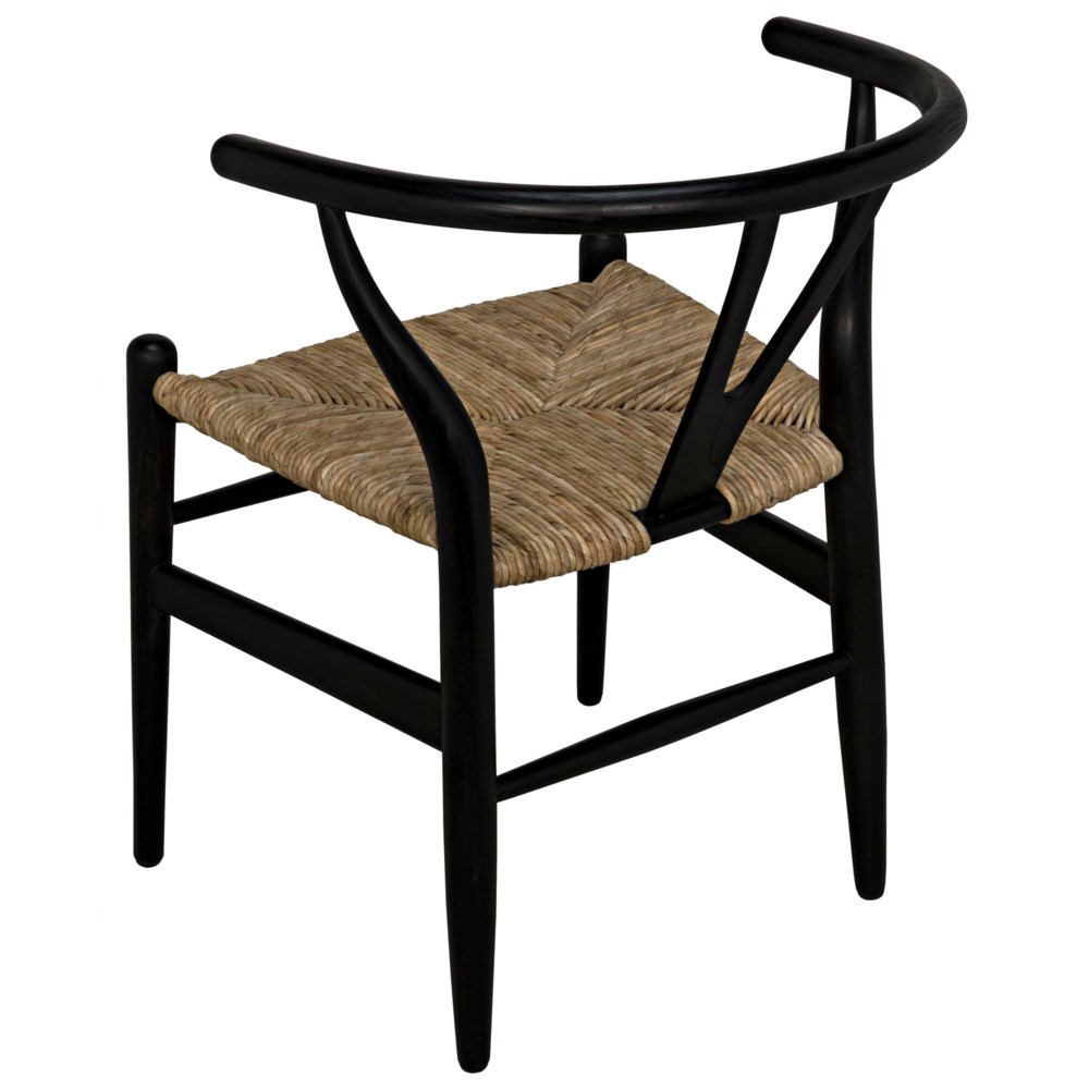 Zola Chair with Rush Seat, Charcoal Black