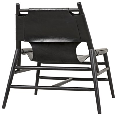 Tiger Chair W/Leather, Charcoal Black