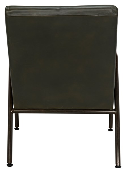 Z Oplus Lounge Chair, Rustic Finish, Green Leather