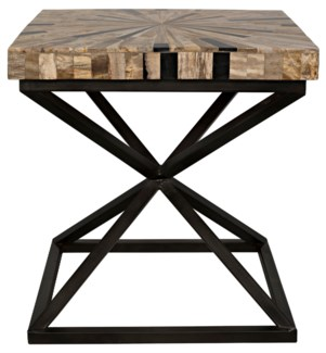 Peleus Side Table, Fossil and Metal