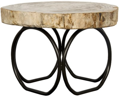 4 Circle Table, Metal and Petrified Fossil