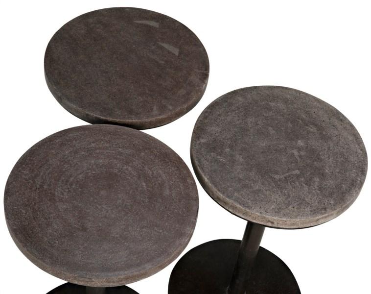 Lotus Side Table, Metal and Stone