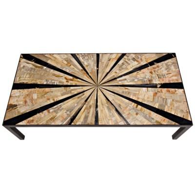 Katana Coffee Table, Metal and Petrified Wood