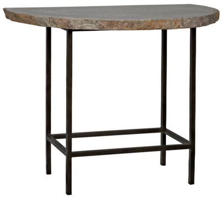 River Stone Demi Lune Console with Iron Base