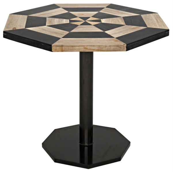 Z Irina Table, Fossil Inlaid With Metal Base