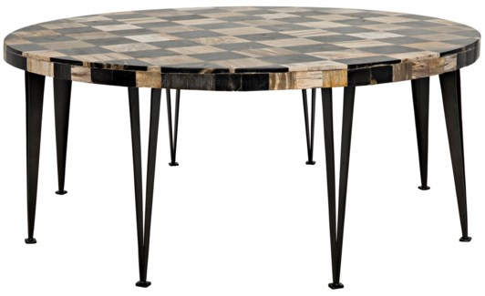 Carim Round Coffee Table, Fossil Inlaid With Metal Base