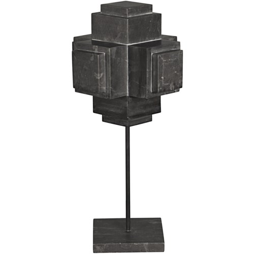 Cube On Stand, Black Marble