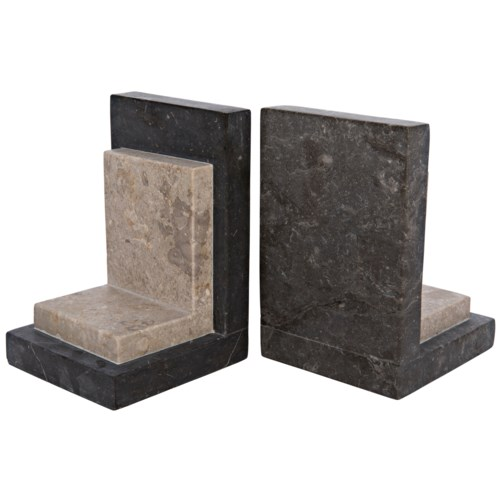 Z White and Black Marble Bookends