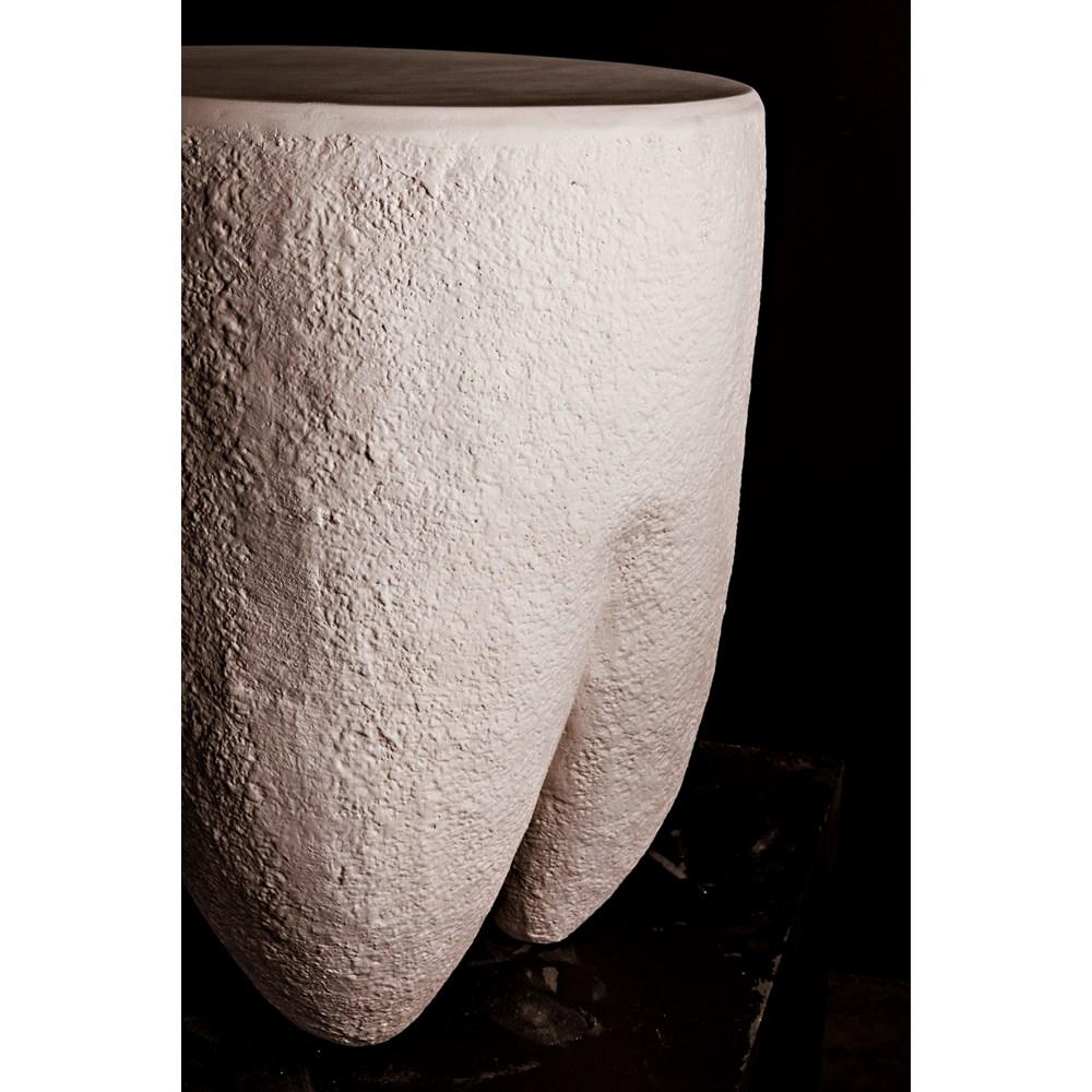 Donald Side Table, White Fiber Cement