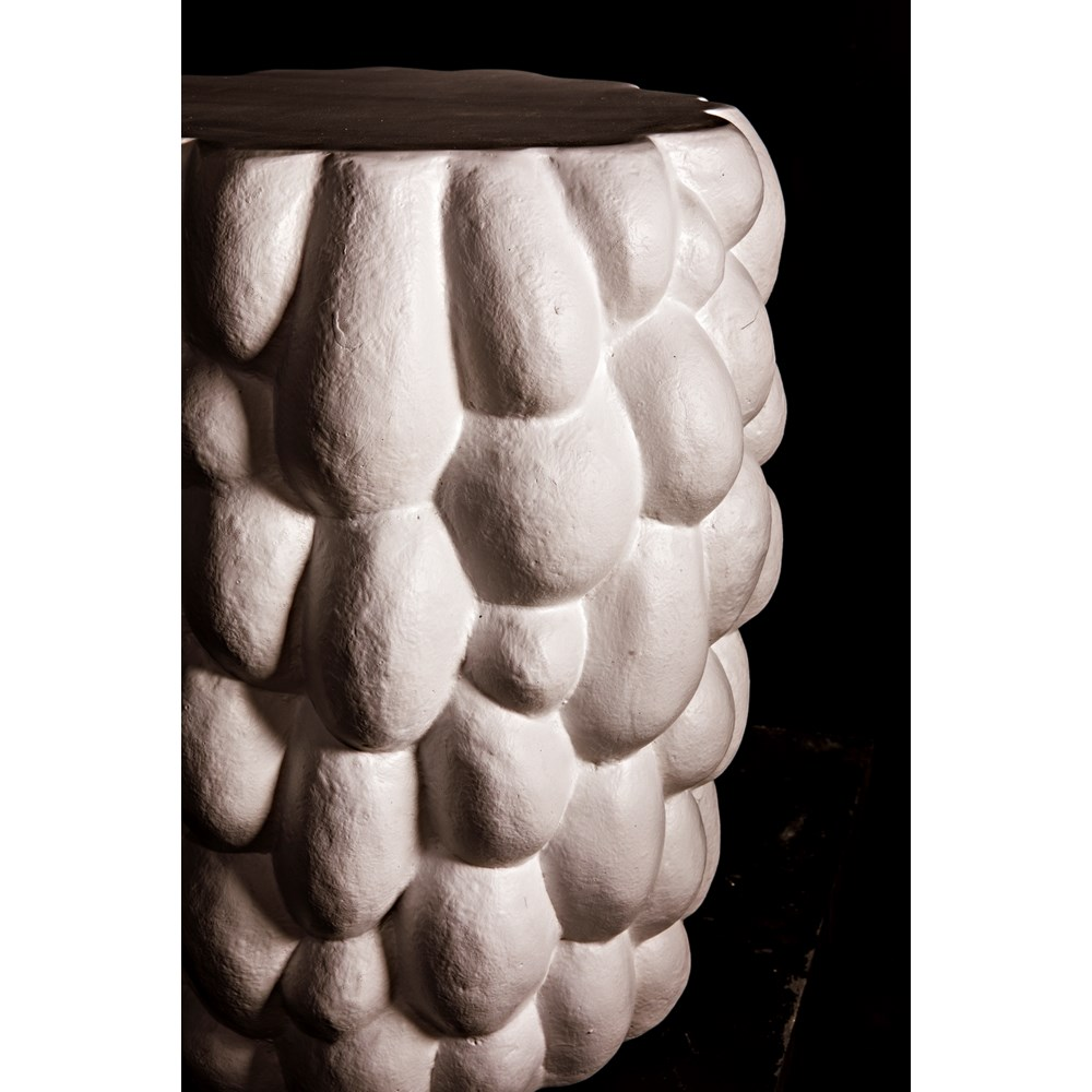 Hive Side Table, White Fiber Cement