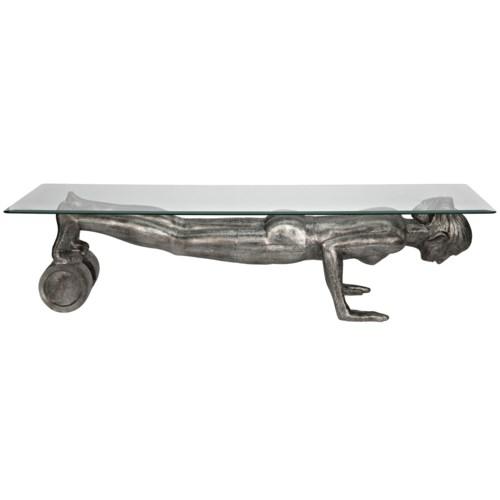 Plank Coffee Table, Aluminum/Glass