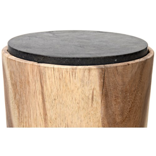 Almond Side Table, Munggur w/Stone Top
