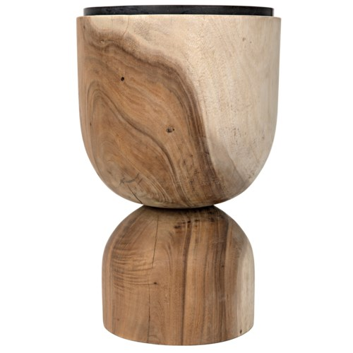 Balance Side Table, Munggur w/Stone Top