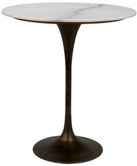 "Laredo Bar Table 36"", Aged Brass, White Stone Top"