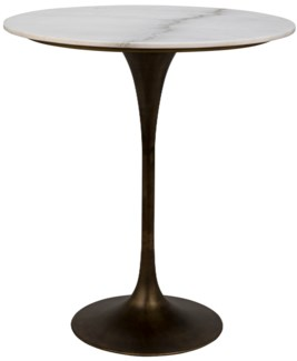 "Laredo Bar Table 36"", Aged Brass, White Stone Top"