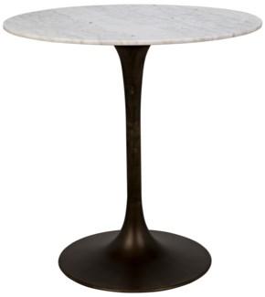 "Laredo Bar Table 40"", Aged Brass, White Stone Top"