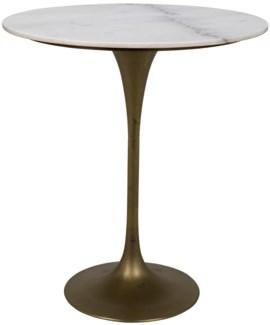"Laredo Bar Table 36"", Antique Brass, White Stone Top"