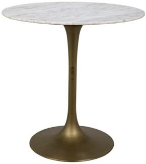 "Laredo Bar Table 40"", Antique Brass, White Stone Top"