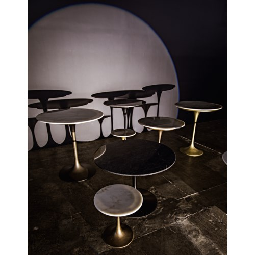 "Laredo Bar Table 36"", Black Metal with Black Stone Top"