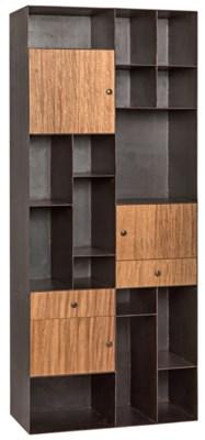 Oksana Bookcase, Dark Walnut, Metal and Walnut
