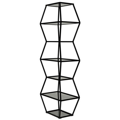 Priam Shelf, Black Metal and Glass