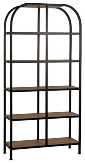 SL07 Bookcase, Gold Teak and Metal