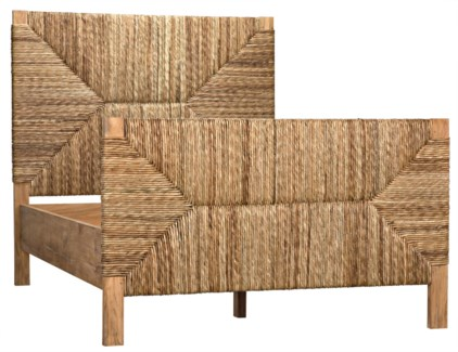 QS Holden Bed, Full, Teak with Seagrass