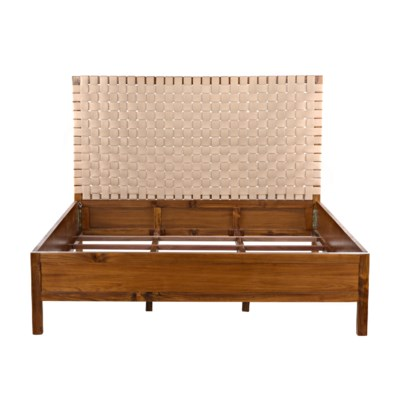 Mansard Bed, Eastern King, Teak and Leather