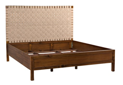 Mansard Bed, Eastern King, Teak and Leather