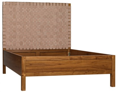 Mansard Bed, Queen, Teak and Leather