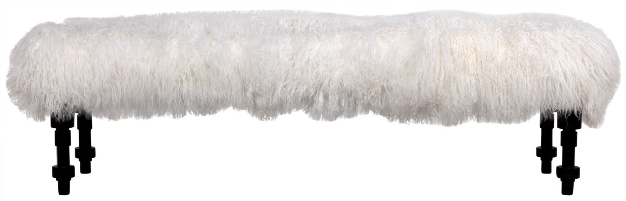 Coco Bench with Lamb Fur, Hand Rubbed Black