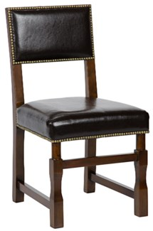 Abadon Side Chair w/Leather, Distressed Brown
