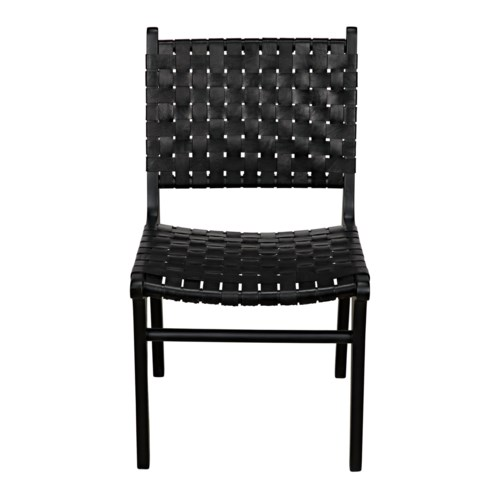 Dede Dining Chair, Leather, Black