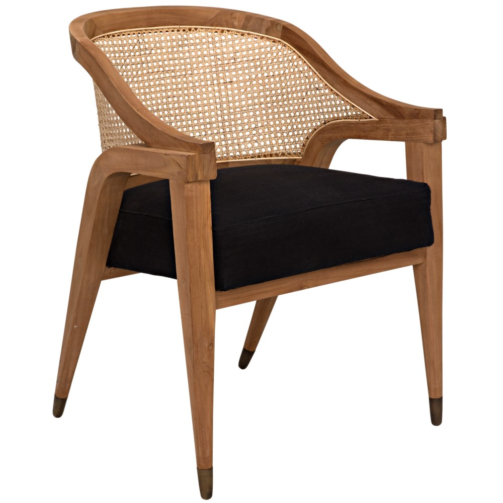 Chloe Chair, Teak, Caning, and Black Cotton