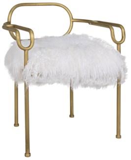 Indira Chair, Metal W/Brass Finish, Flokati