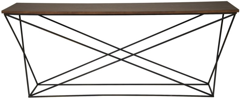 Metal X Base Console, Metal and Walnut
