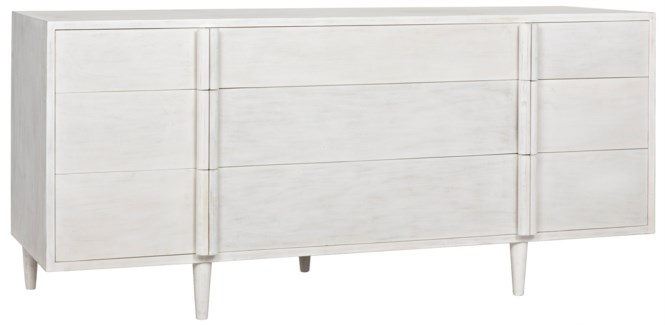 QS Morten 9 Drawer Dresser, White Wash