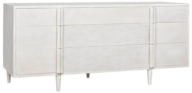 QS Morten 9 Drawer Dresser, White Wash