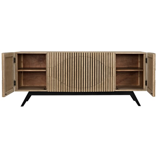 Illusion Sideboard with Metal Base, Bleached Walnut