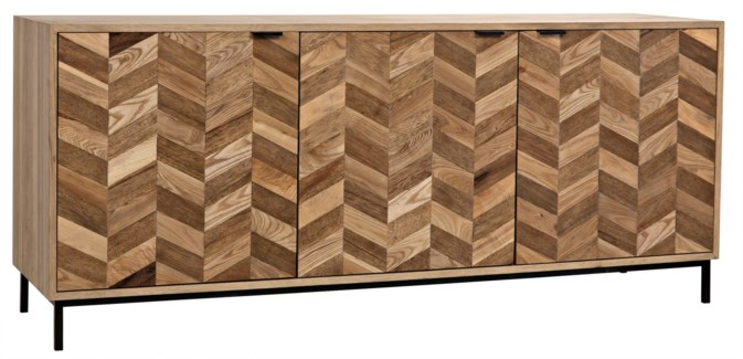 Herringbone Sideboard, Washed Walnut and Metal