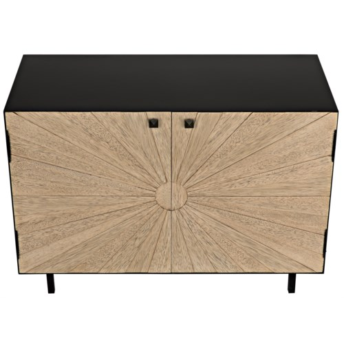Ray Sideboard with Metal Box, Bleached Walnut